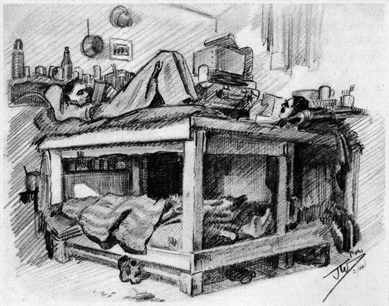 Eight-sleeper bunk in Stalag XXI D
