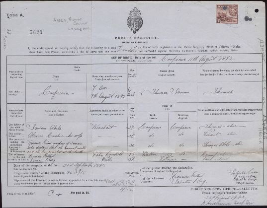 Evidence of Birth record