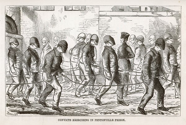 Convicts excercising in the yard at Pentonville Prison in the 19th Century