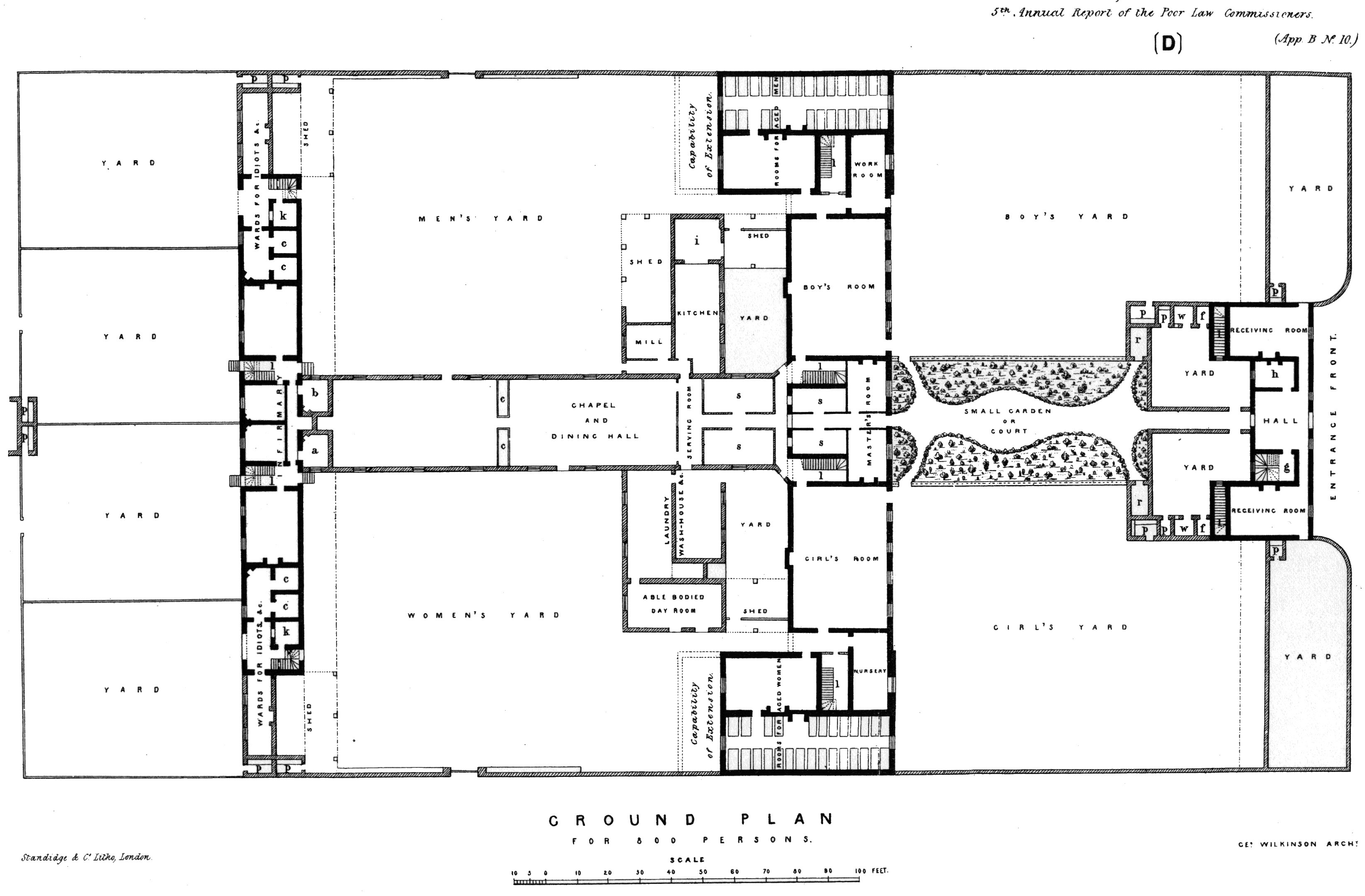 Floor plan of model workhouse 1839