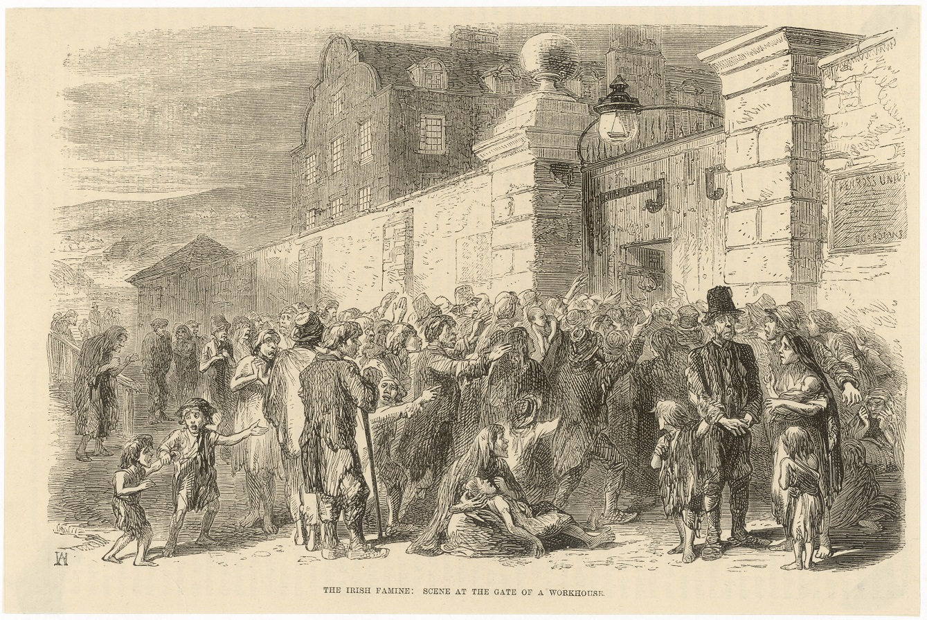 Famine crowds outside a workhouse in the 1840s